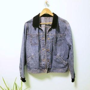 Vintage Denim & Velour Jean Jacket